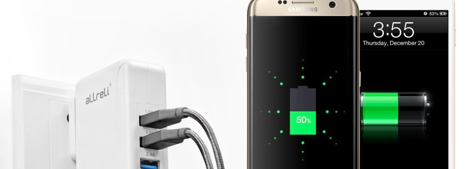 aLLreLI Intelligent 4-Port USB best travel charger in use