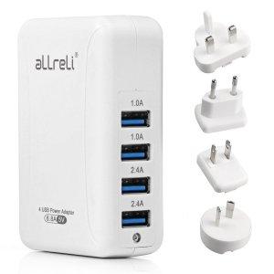 aLLreLI Intelligent 4-Port USB best travel charger