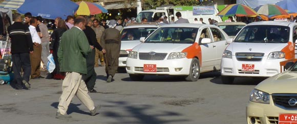 Taxis in Sulamainiyah, Iraq
