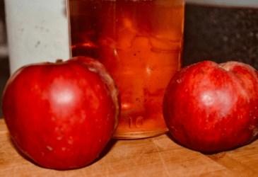 apple jelly in jar beside apples