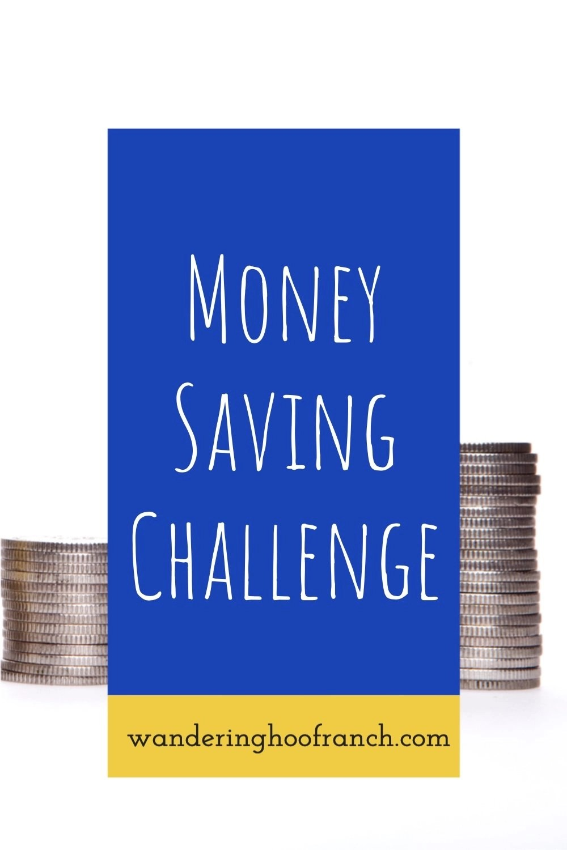 money saving challenge stack of pennies Pinterest image