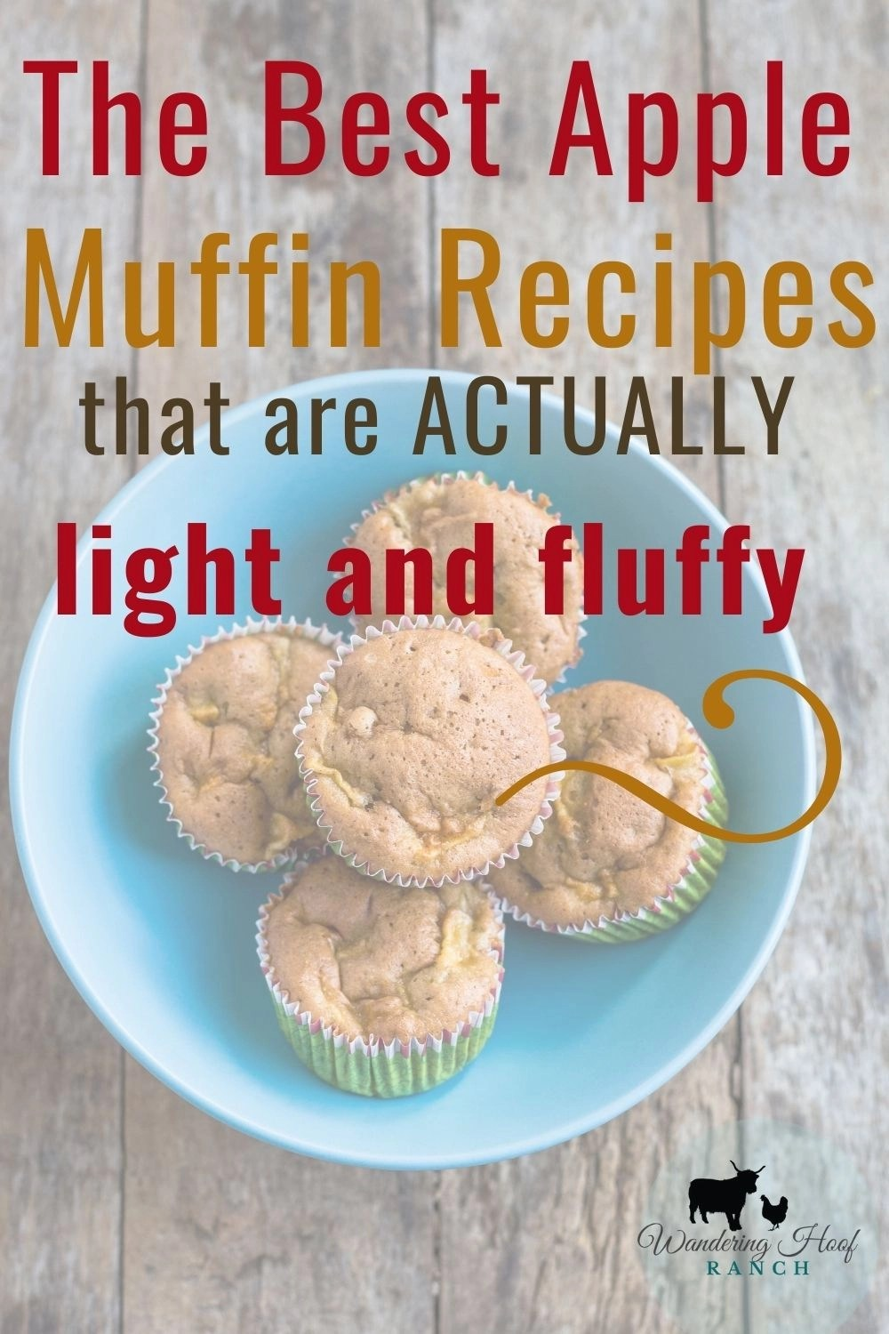 apple cinnamon muffin recipes in a blue bowl, pin image