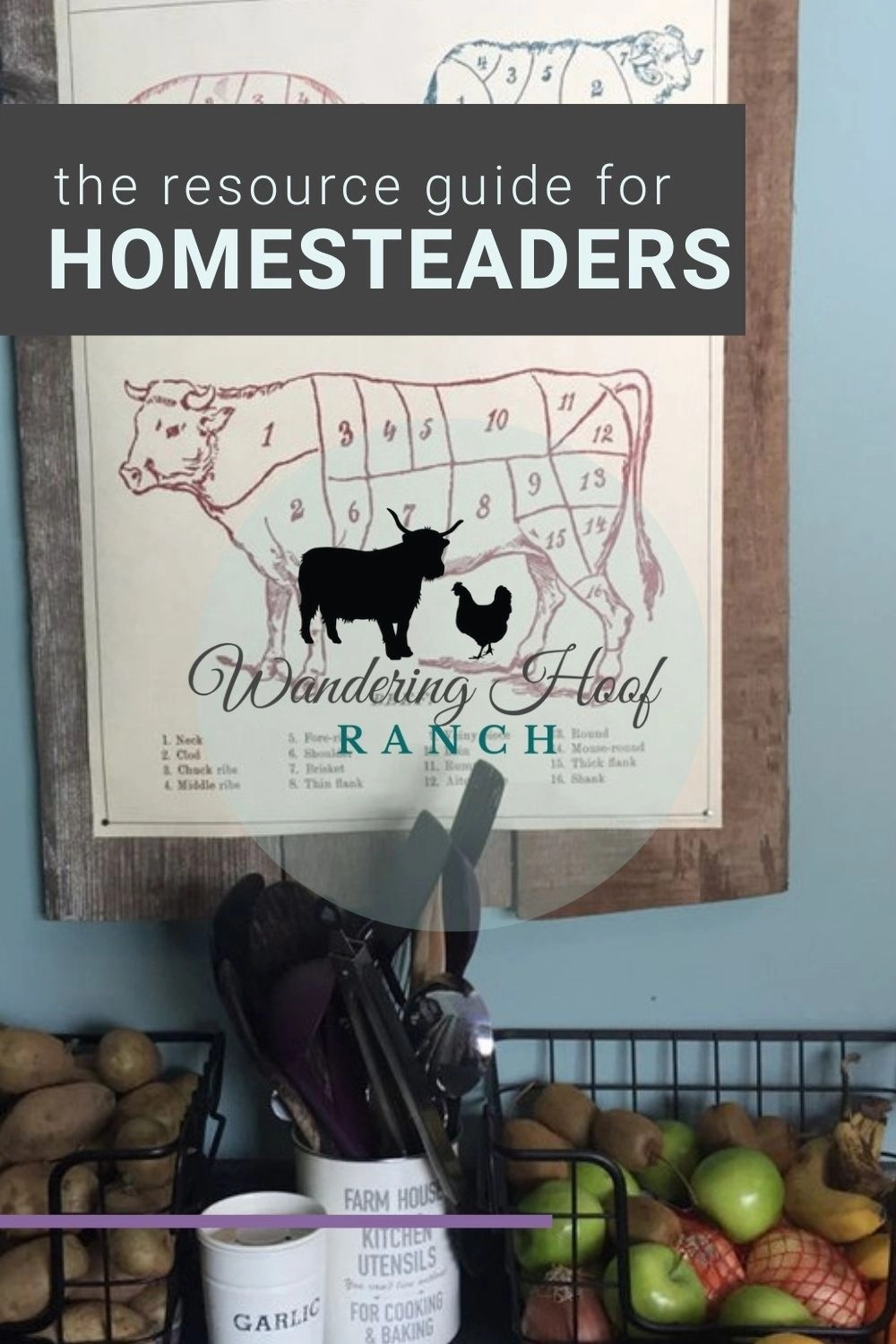 the resource guide for homesteaders pin image