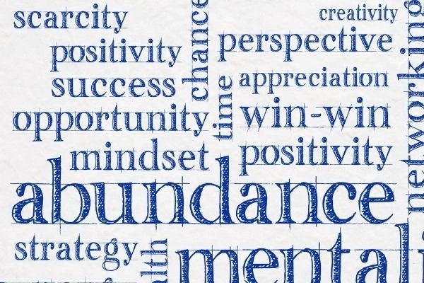 abundance words like scarcity positivity success opportunity time perspective creativity networking strategy mental appreciation