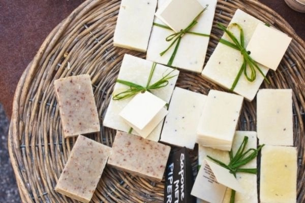 handmade soaps in a gift basket, just one of the more popular handmade gift ideas for a gift basket