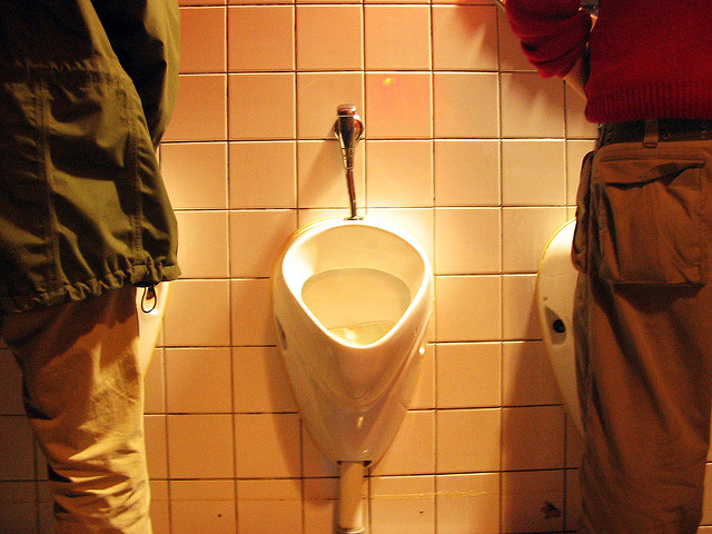 Men's bathroom instructions at shooting range