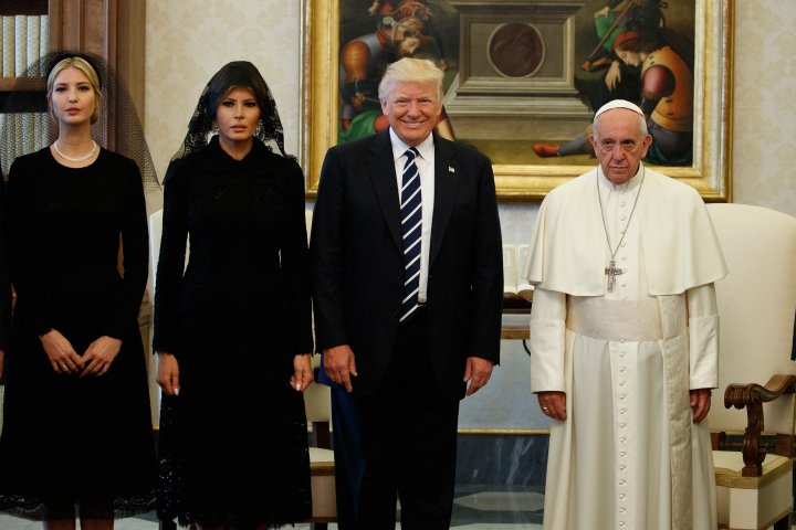 Ivanka Trump, First Lady Melania Trump, and President Donald Trump stand with Pope Francis during a meeting at the Vatican on May 24, 2017. Evan Vucci—AP