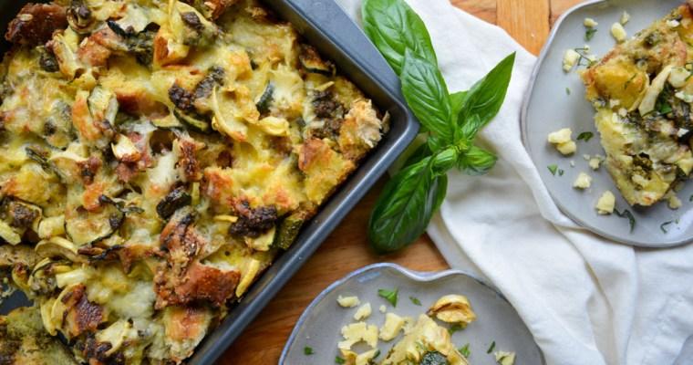 Squash & Pesto Breakfast Strata