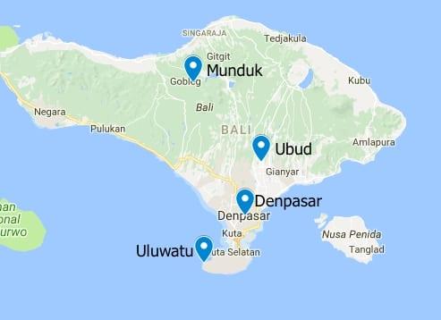 2 week route through Bali