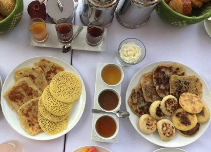 Moroccan pancakes at breakfast