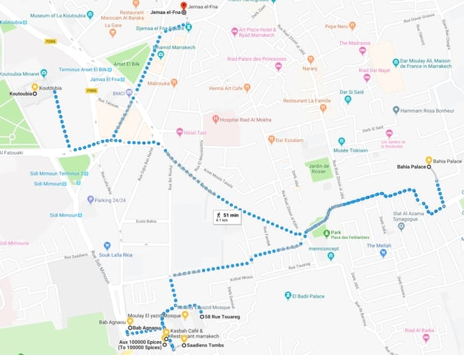 Marrakech Guided Tour Map Overview