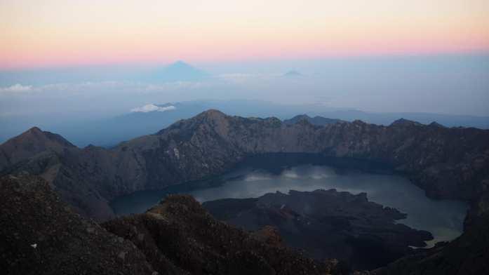 Mount Rinjani summit at sunrise