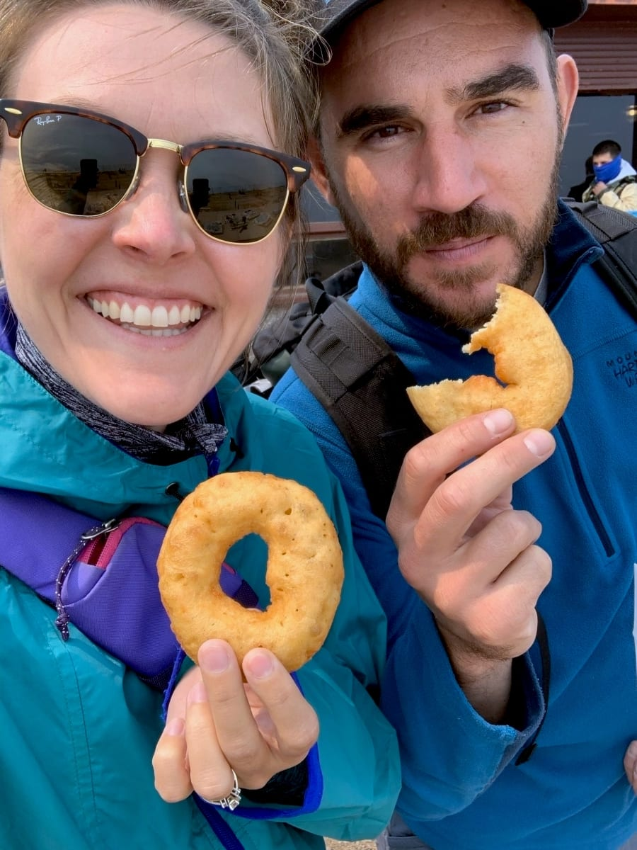 Eating donuts a top of Pikes Peak