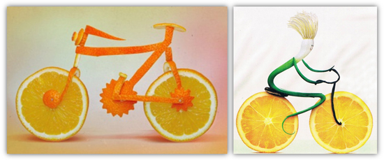 fruit bicycle, vegetable bicycle, bicycle made of fruits, bicycle made of vegetables, fruits vegetables bicycle, bicycle made of food, food bicycle, bicycle art, food art, bicycle food art