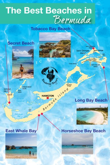 Infographic of our wanderings around Bermuda in our quest to find the best Bermuda beach.