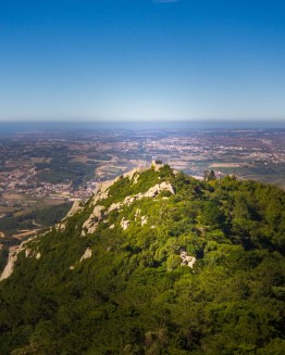 The view of the Moorish Castle from Pena Palace in Sintra, Portugal
