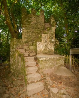 An ancient ruined building with a stone staircase stands in the woods of Sintra, Portugal