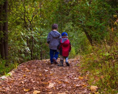 Two boys walking through the woods