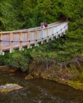 Suspension bridge over small river