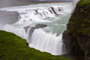 Gulfoss waterfall flows at an angle to the cliffs - Iceland's Golden Circle