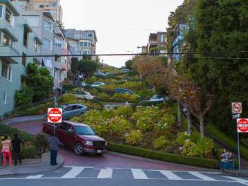 Looking up from the bottom of curvy Lombard Street in San Francisco. The windiest road in the world.