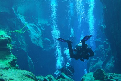 Scuba divers surrounded by bubbles and neon green algae - Diving Iceland's Silfra