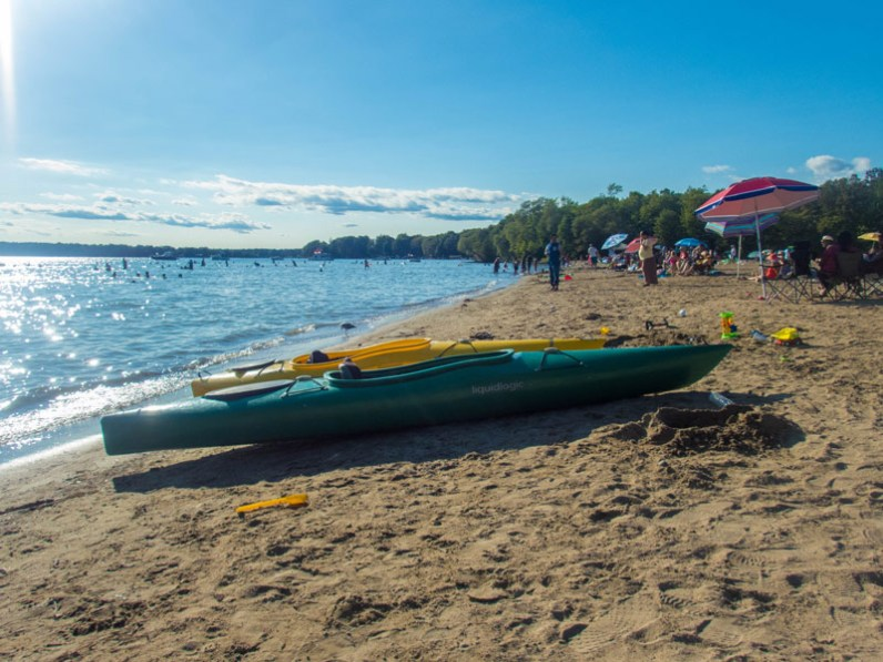 Kayak on the beach of Mara Provincial Park in Ontario experienced while camping in