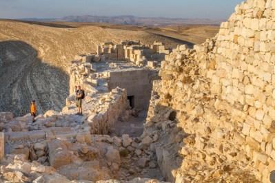 Family climbing Shoubak Castle