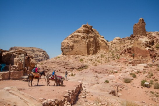 View from the trail on the way down by horseback from the High Place of Sacrifice in Petra, Jordan.