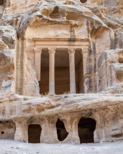 Roman facades of line the cliffs of little Petra - Traveling Jordan with Kids