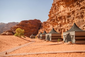 The sleeping tents of the Wadi Rum overnight luxury camp - Traveling Jordan with Kids