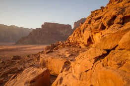 The setting sun seemed to set the Wadi Rum desert ablaze in a fiery red glow.