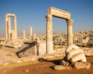 The giant hand from the sculpture of Hercules at the Amman Citadel