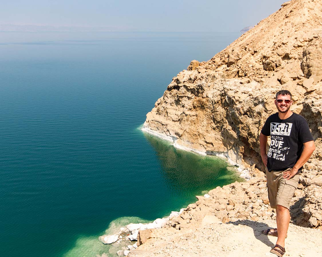 Kevin Wagar stands on the coast of the Dead Sea in Jordan