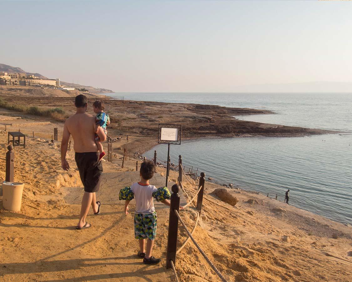 The Wandering Wagars Prepare to Bathe in the Dead Sea in Jordan