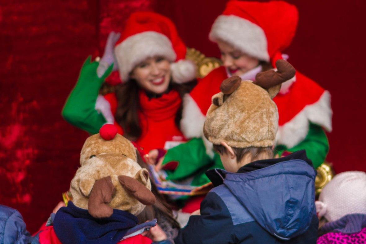 Story time at the Toronto Christmas Market in the Toronto Distillery District
