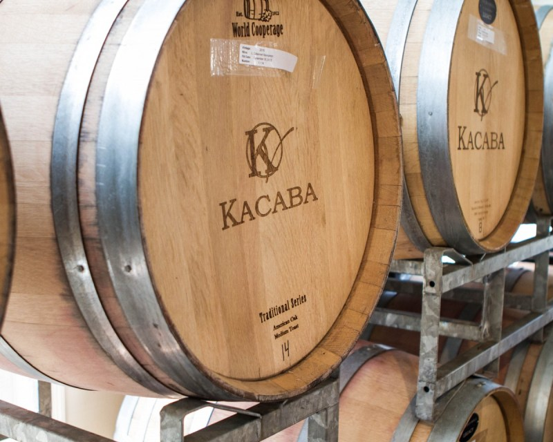 Picture of a wine barrel from Kacaba winery during the Niagara Icewine Festival in Niagara-on-the-Lake Ontario