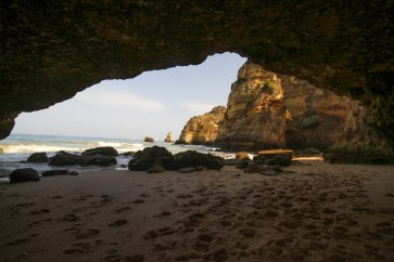 Looking out from a cave into the Algarve