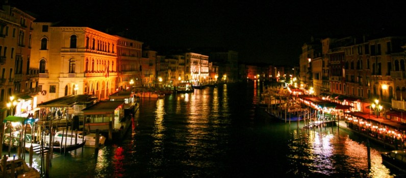 Wide canal in Venice, Italy free of tourists at night - Lost in Venice