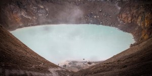 The milky white waters of the Viti Crater in the Askja Caldera of Iceland