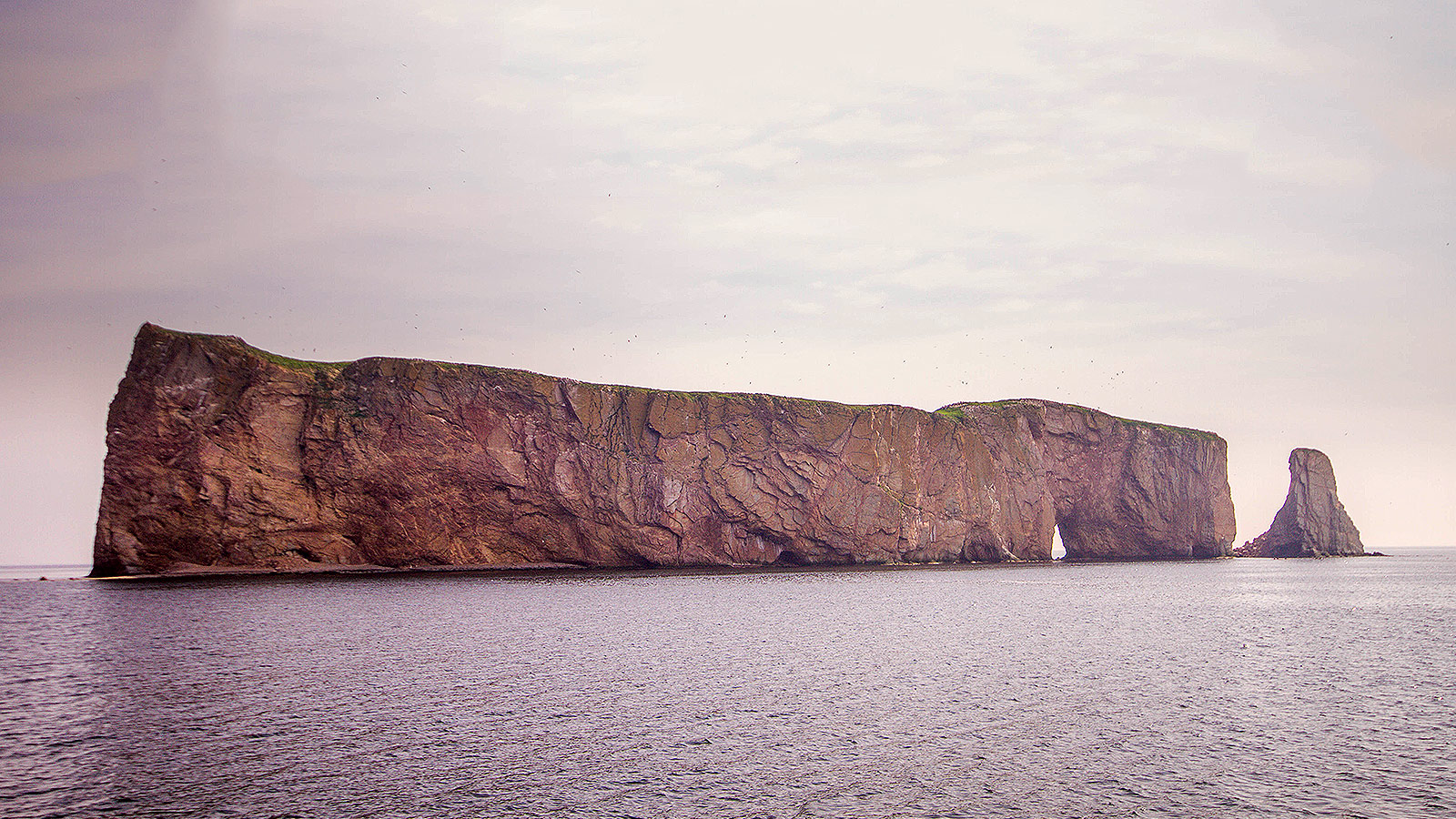 Perce Rock as seen from a boat cruise of the National Park of Bonaventure Island and Perce Rock.