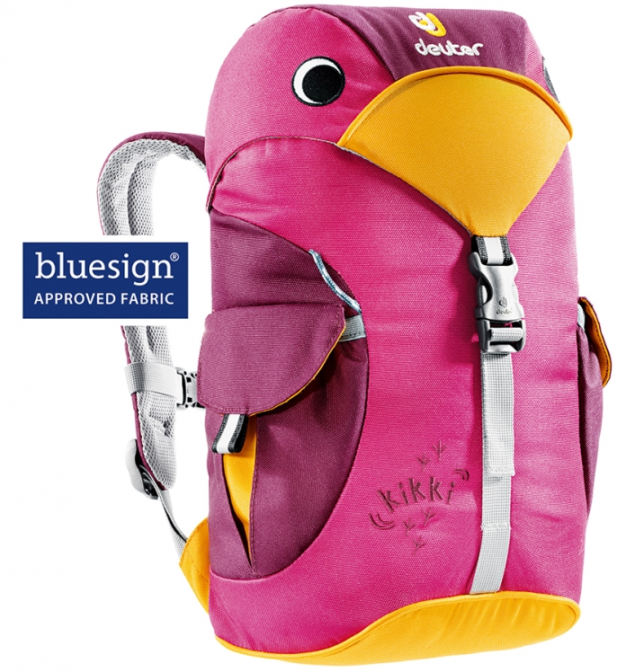 A pink children's backpack shaped like a bird