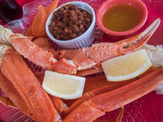Crab legs at Lightkeeper's Seafood Restaurant