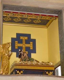 View of the side altar inside the church at Monserrate, Bogota.