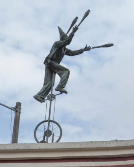 Unicycle art in La Candelaria Bogota.