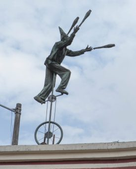 Unicycle art in La Candelaria Bogota.
