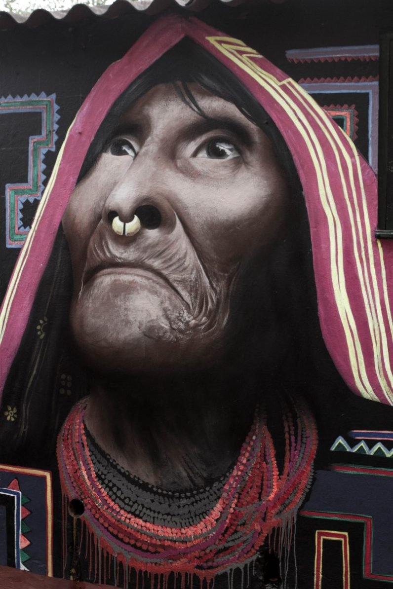 Mural of a Wayuu is an excellent of amazing graffiti art that can be seen with 48 hours in Bogota.