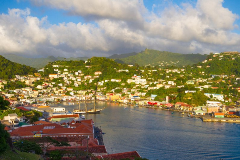 View from Fort St. Georges over St. Georges bay in Grenada - Swimming with Turtles in the Tobago Cays