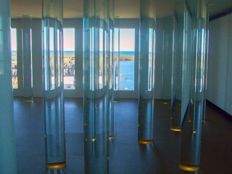Tubes of water from glaciers throughout Iceland are on display at the Library of Water