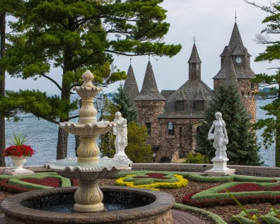 The Power House in the background and gardens in the foreground of Boldt Castle.